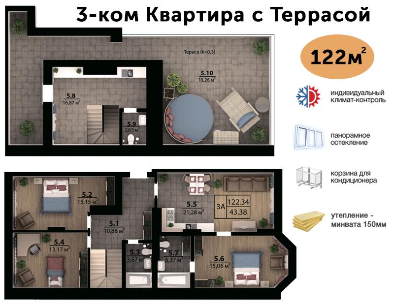 2-х рівнева квартира з терасою 122м²