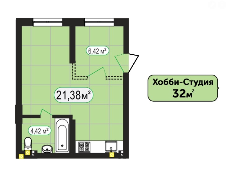 Хобі-Студія 32м²