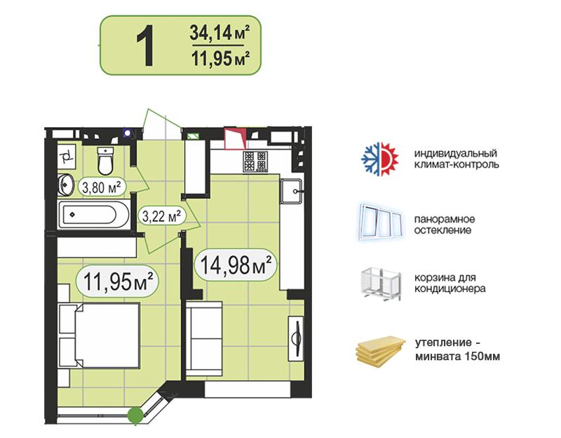 1-КІМ КВАРТИРА 34,14м²
