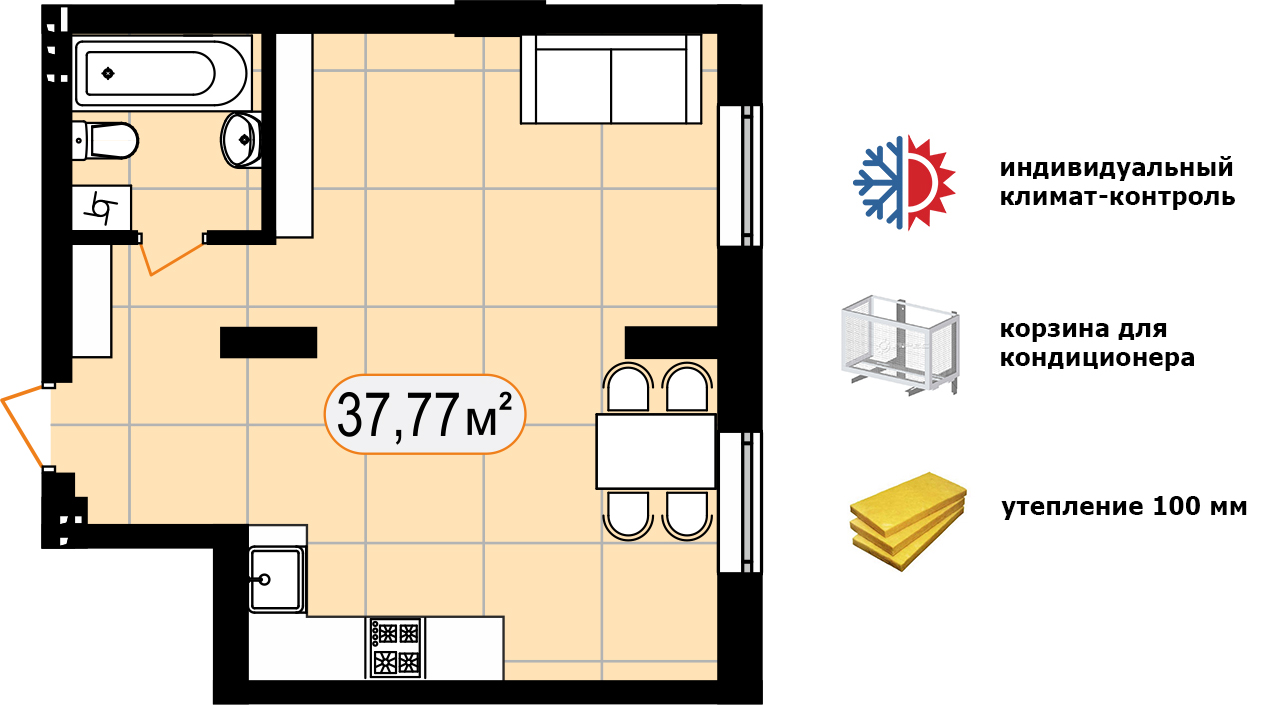 Апартаменти 37,77 м2