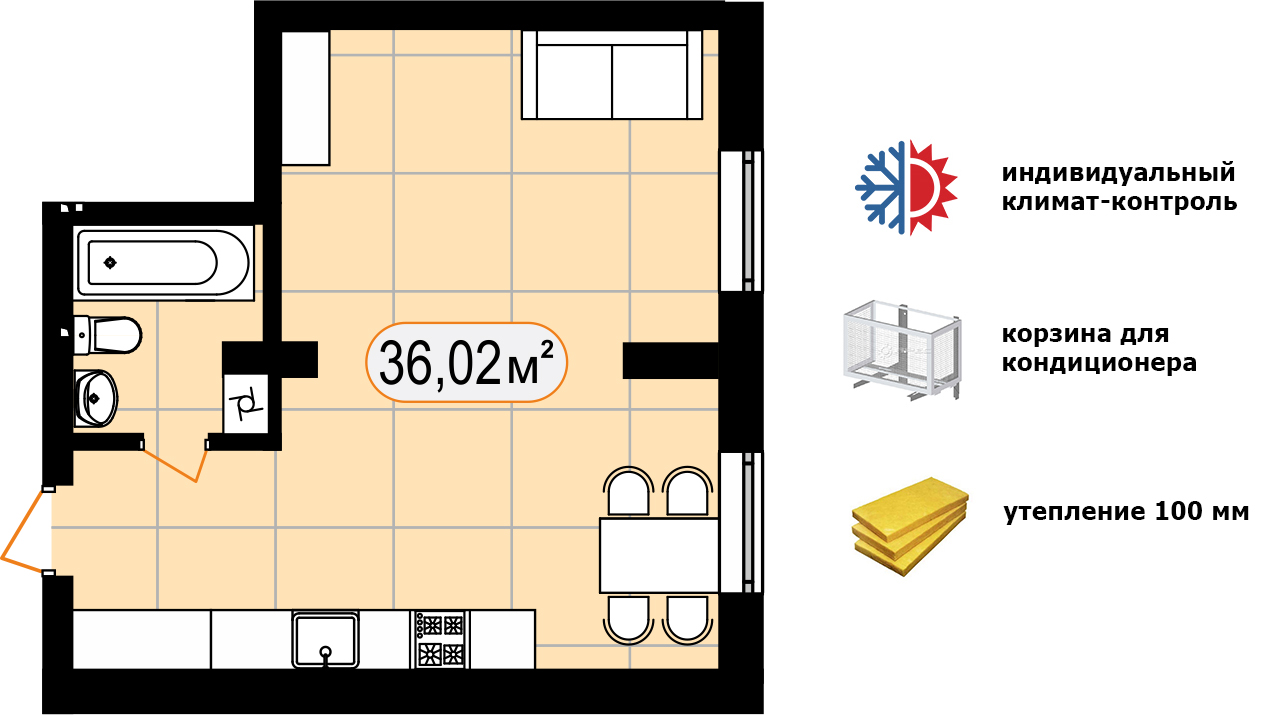 Апартаменти 36,02 м2