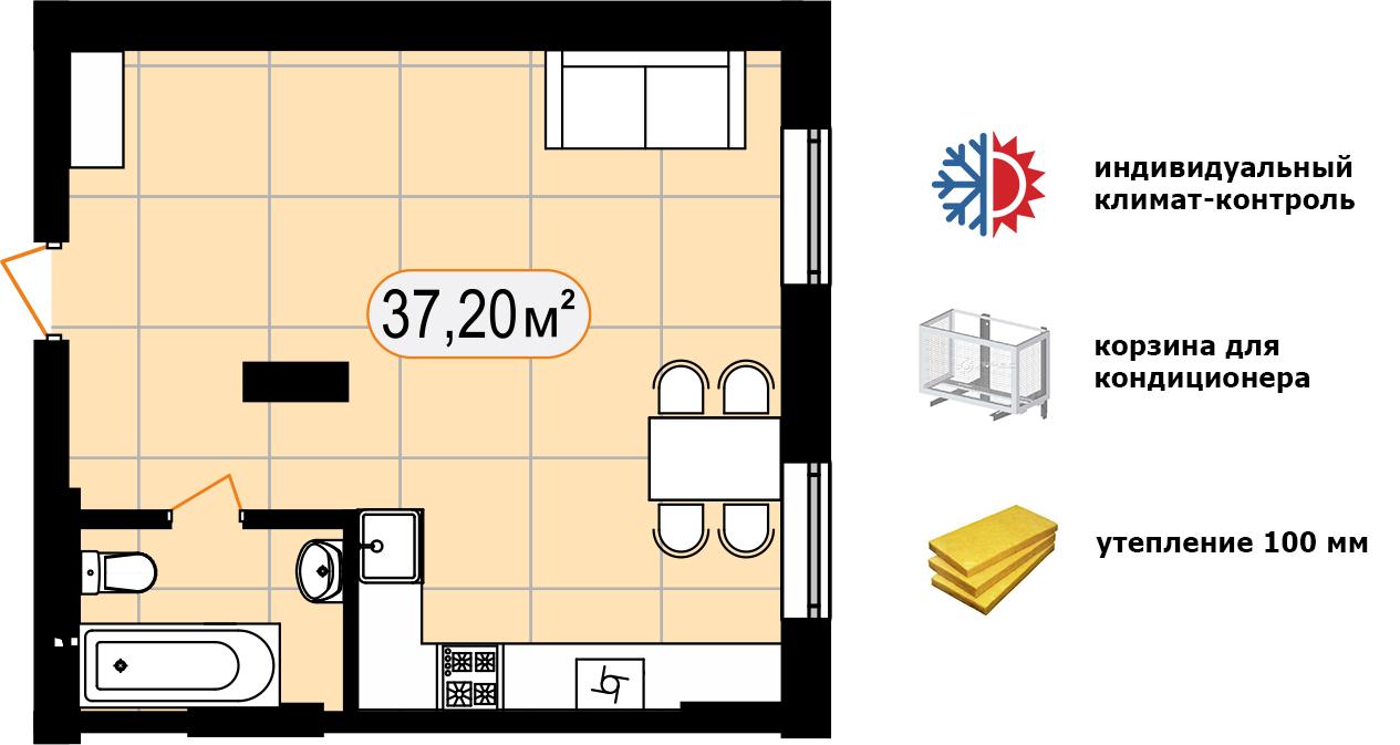 Апартаменти 37,20 м2