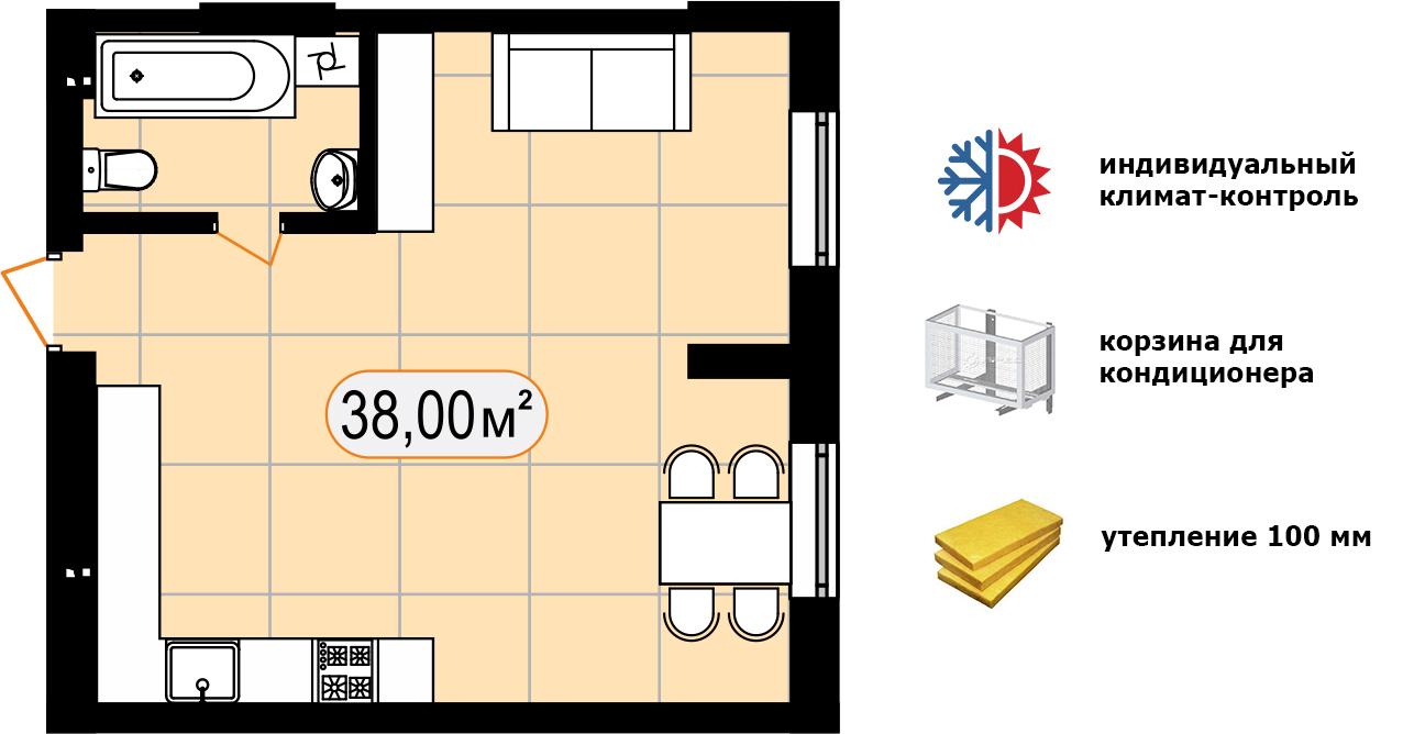 Апартаменти 38,00 м2
