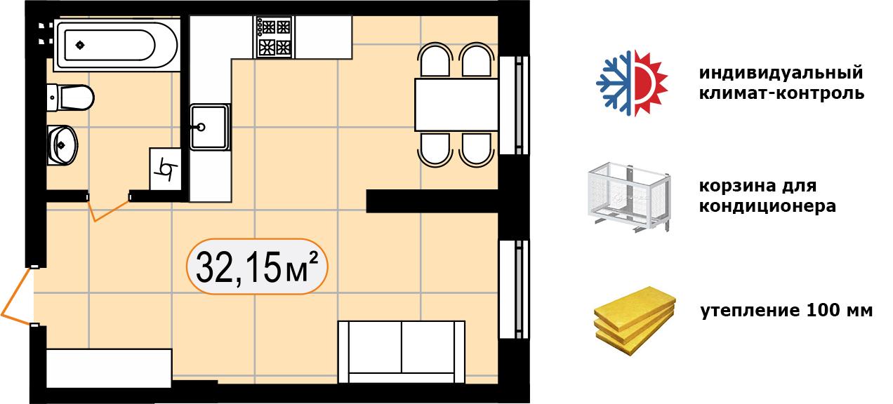 Апартаменти 32,15 м2