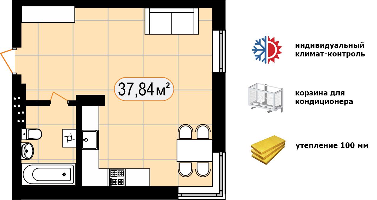 Апартаменти 37,84 м2