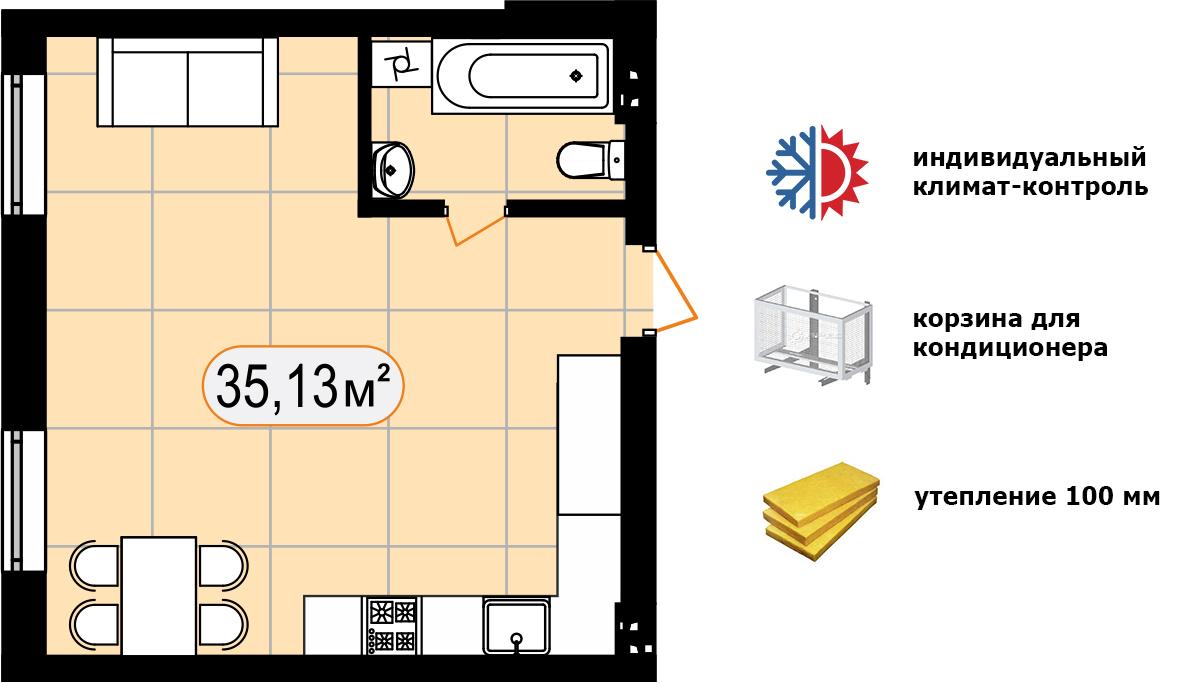Апартаменти 35,13 м2