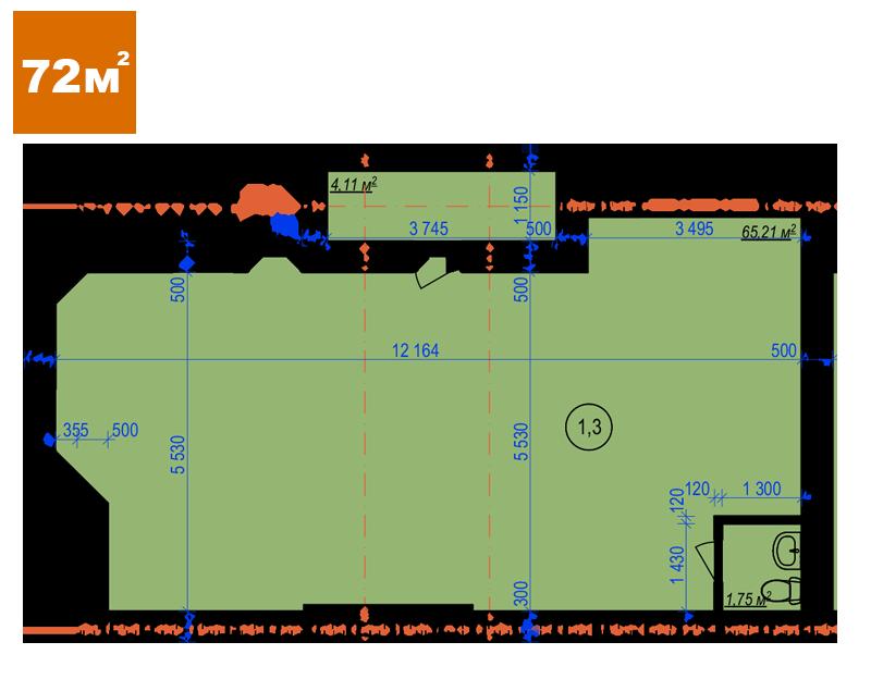 Коммерческая недвижимость 72 м2