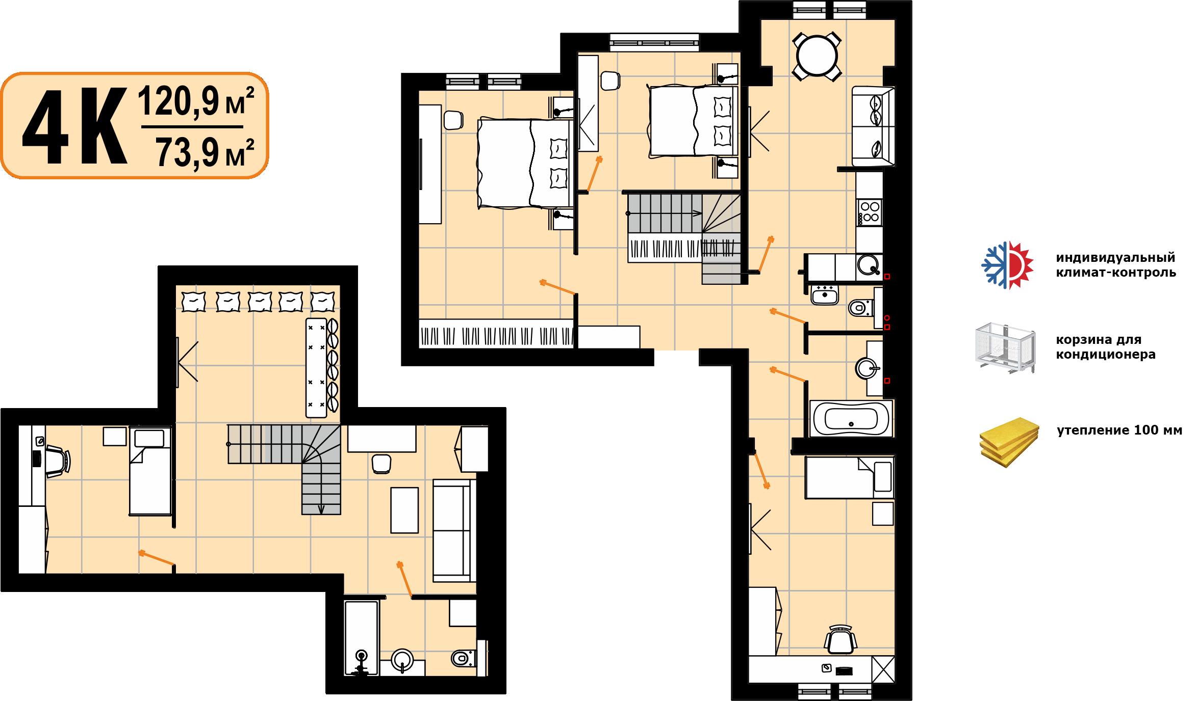 """2-рівнева квартира """"4К"""" 120м²"""