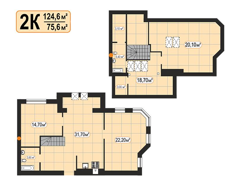 Дворівнева квартира 124,6м²