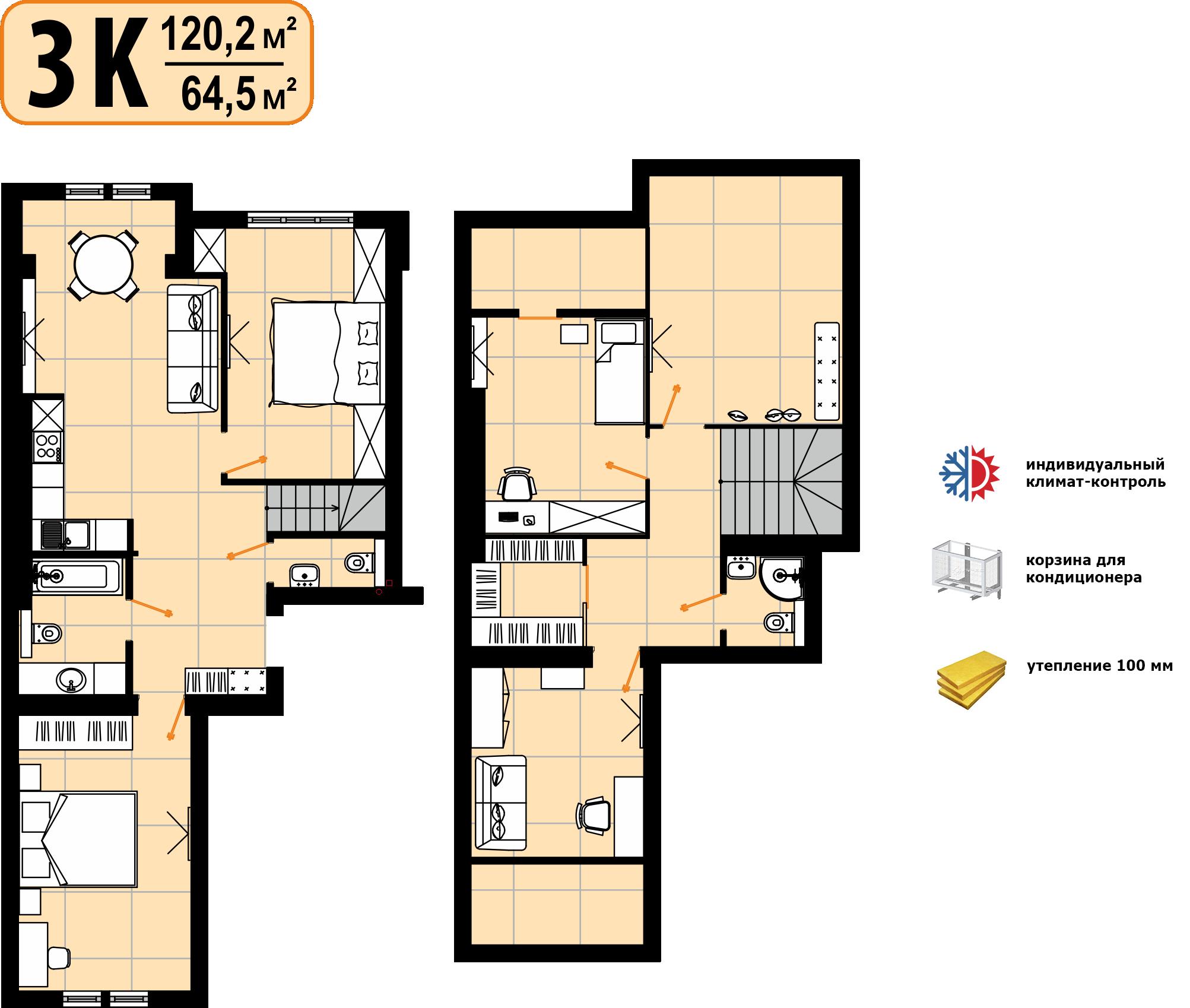 Дворівнева квартира 120,2м²