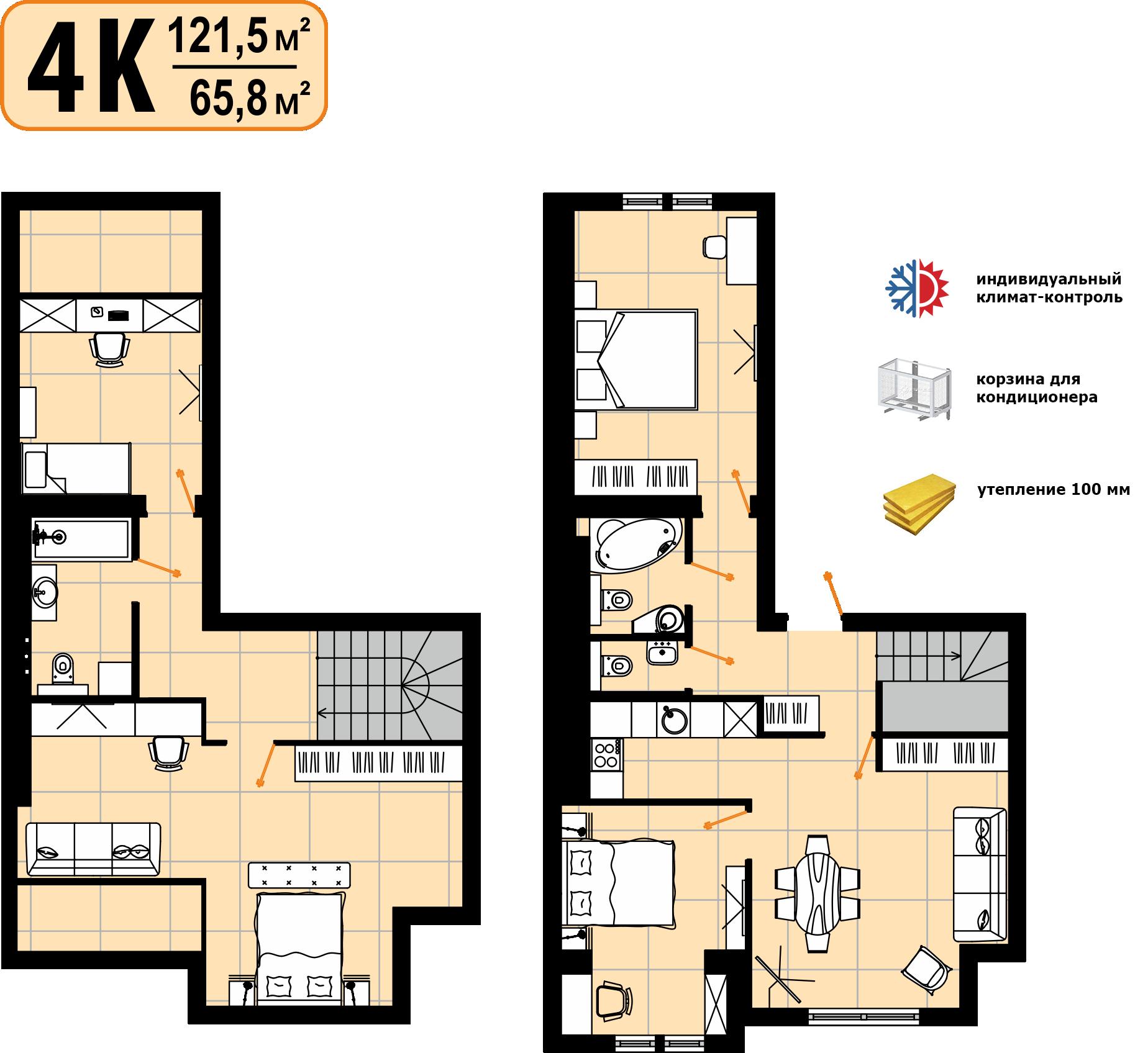 Дворівнева квартира 121,5м²