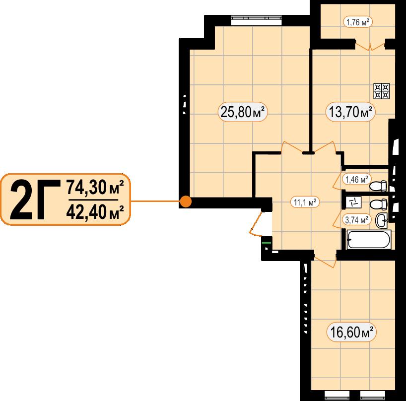 2-КІМ КВАРТИРА - 74,30м²