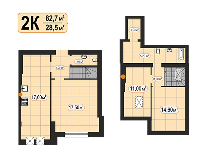 Дворівнева квартира 82,70м²